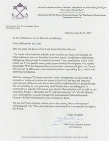 Syria Relief Letter