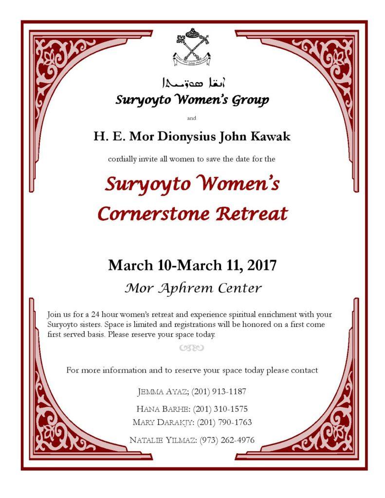 Open Invitation For Suryoyto Womens Cornerstone Retreat Syriac