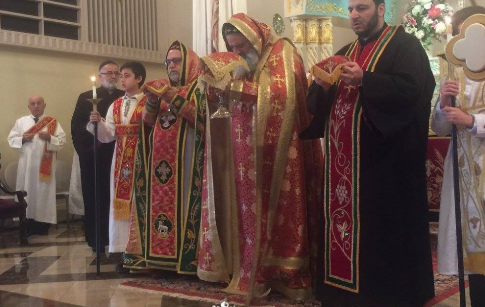 His Holiness celebrates the Holy Qurobo at St. Mark Cathedral